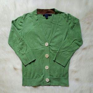 Boden Green Button 3/4 Sleeve Crop Cardigan